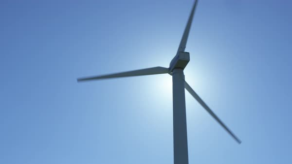 Shot of working wind turbine, clear sky on background Royalty-free stock video