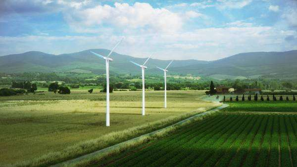 Wind turbines on countryside fields Royalty-free stock video