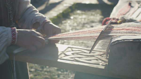 Close-up shot of old woman needlework and weaving Royalty-free stock video