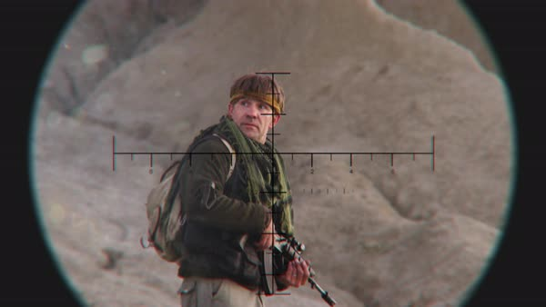 Looking at Patrol Insurgent through Sniper Scope Royalty-free stock video