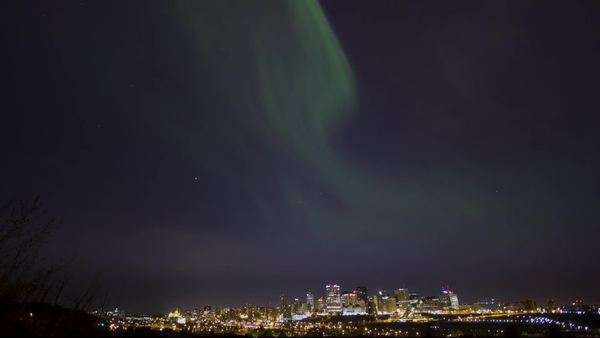 Timelapse shot of the northern lights over Edmonton Royalty-free stock video