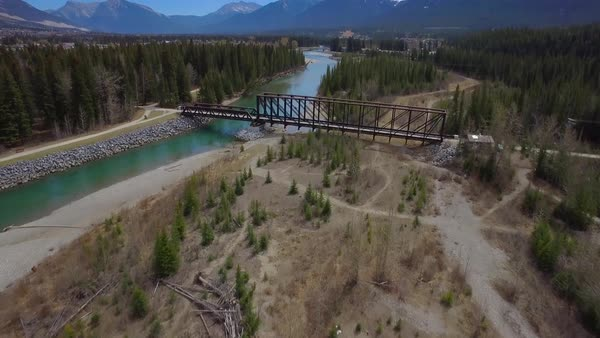 Aerial shot of a bridge over a river Royalty-free stock video