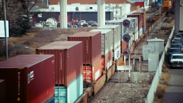 Wide shot of a freight train in Calgary Royalty-free stock video