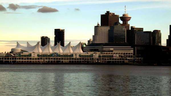 Wide shot of Downtown Vancouver at Sunset Royalty-free stock video