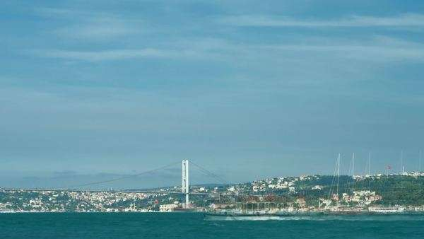 Timelapse view to first Bosphorus bridge and Bosphorus strait. Istanbul, Turkey. Royalty-free stock video