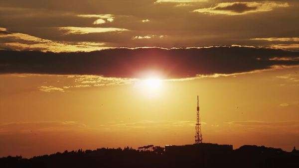 WS Silhouette of horizon with telecommunications antenna at sunset, Rome, Italy Royalty-free stock video