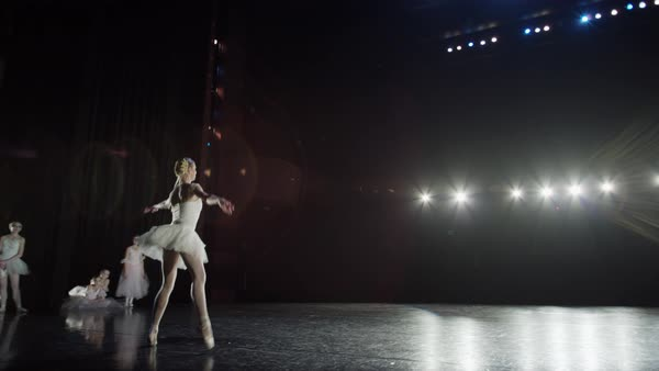 Wide slow motion panning shot of ballerina leaping on stage Rights-managed stock video