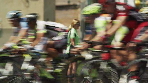 Medium shot pan Competitive cyclists, Orem, Utah Royalty-free stock video