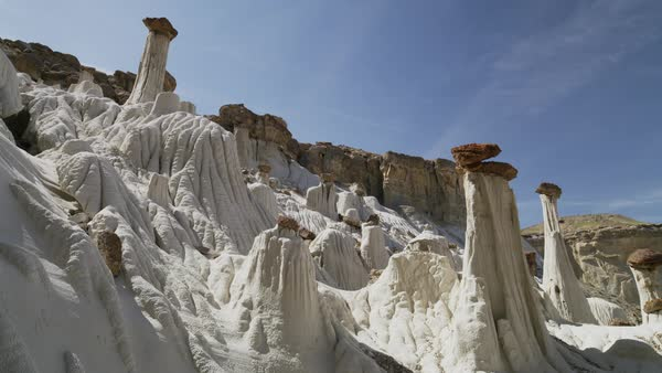 Wide low angle shot of unusual rock formations Royalty-free stock video