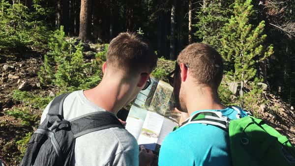 Medium shot of two people looking at a map Royalty-free stock video