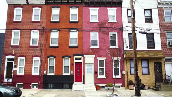 Hand-held shot of row houses in Philadelphia Royalty-free stock video