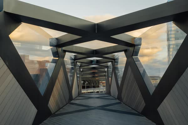 Timelapse of interior of Weave Bridge in Philadelphia Rights-managed stock video