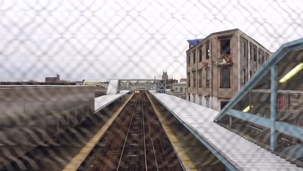 Hyperlapse of an elevated railway station in Philadelphia Rights-managed stock video