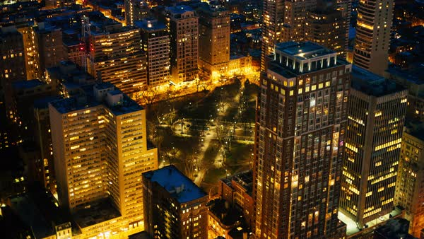 Aerial shot of Philadelphia at night in Pennsylvania, USA Rights-managed stock video