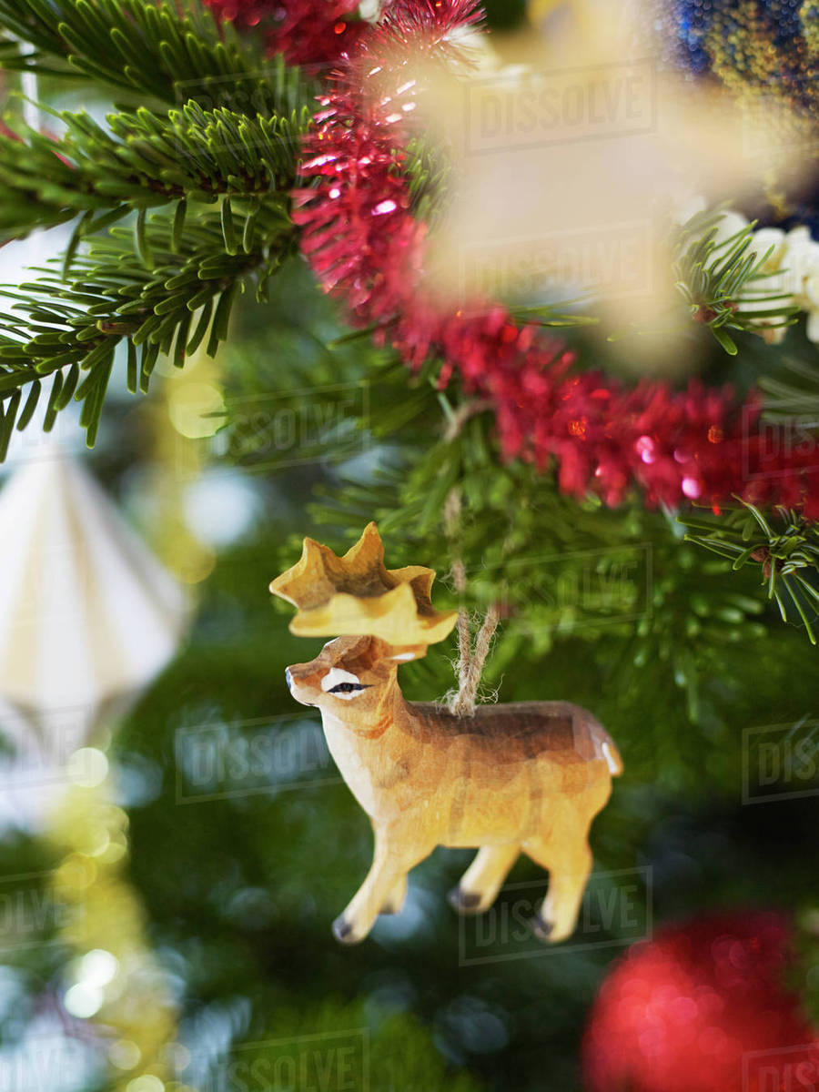 wooden deer decoration on christmas tree - Wooden Deer Christmas Decorations