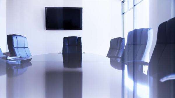A dolly shot of a conference room and its chairs Royalty-free stock video