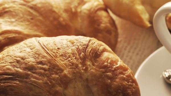 Pastries and coffee, motion-controlled macro dolly slide Royalty-free stock video