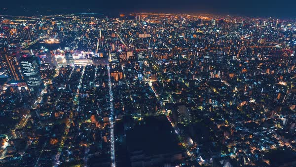 Night cityscape time-lapse high above Tokyo, Japan Royalty-free stock video