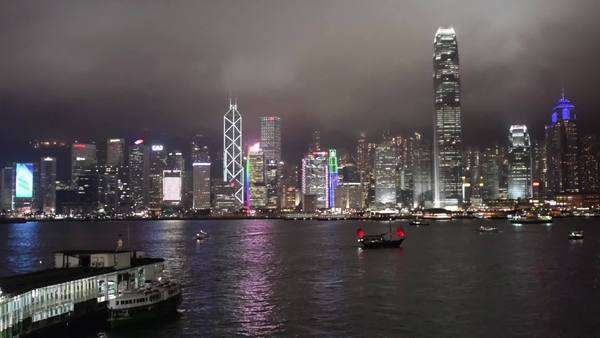 Hong Kong night skyline aqua luna Royalty-free stock video