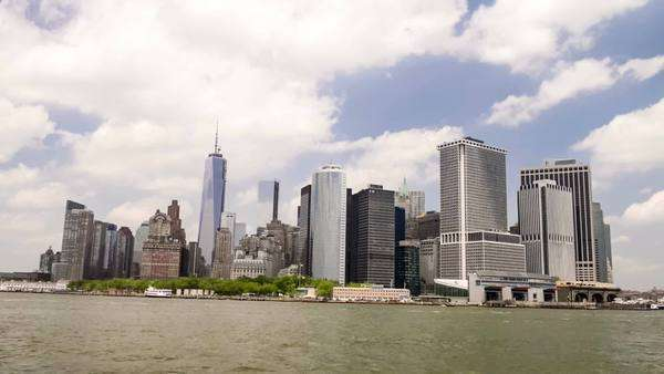 New York lower Manhattan from east river Royalty-free stock video