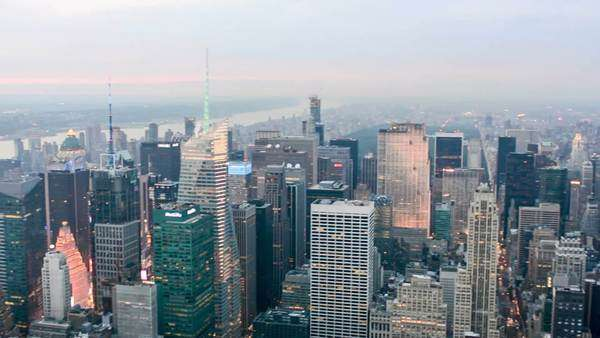 New York skyscrapers at dusk aerial view Royalty-free stock video