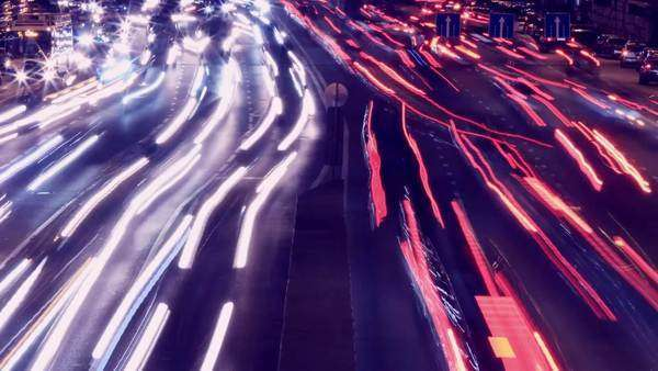 City traffic at night, timelapse -madness Royalty-free stock video