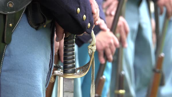 Shot of Civil War soldiers guns and a sword Royalty-free stock video