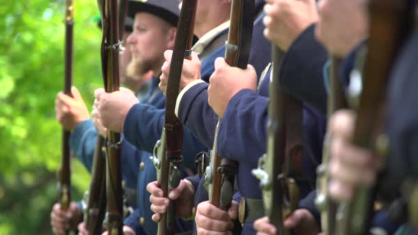 View of Civil War soldiers doing drills Royalty-free stock video