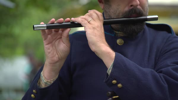 A Civil War soldier plays the fife Royalty-free stock video
