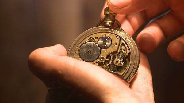 Old hands hold an antique pocket watch Royalty-free stock video