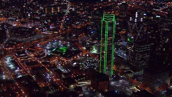 Aerial Footage Dallas Texas . Aerial Footage Of Dallas Texas. The Large  Skyscrapers Light Up