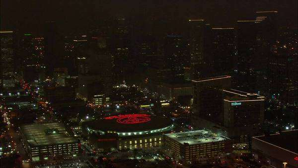 Houston Skyline Nighttime. A Beautiful Aerial View Of The Houston Skyline At  Night. Towering
