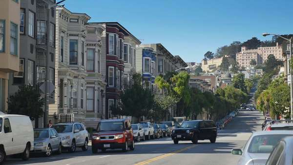 SAN FRANCISCO - Circa October, 2015 - A daytime establishing shot of a typical street in San Francisco.    Royalty-free stock video