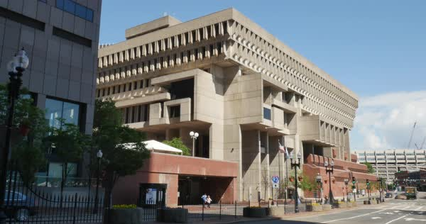 A day establishing shot of the Boston City Hall building. Royalty-free stock video