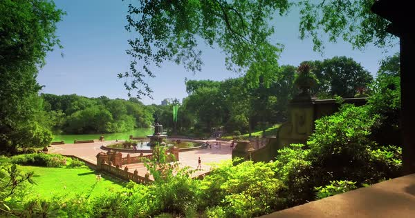 NEW YORK - Circa July, 2016 - A dolly up establishing shot of Bethesda Fountain in Central Park.  	 Royalty-free stock video