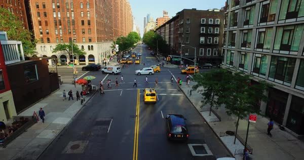 A daytime establishing shot of traffic on West Street in lower Manhattan.  	 Royalty-free stock video
