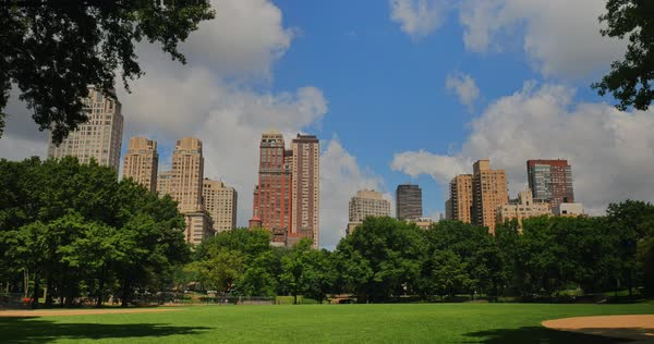 A daytime summer establishing shot of apartment buildings on Central Park West near Central Park.  	 Royalty-free stock video