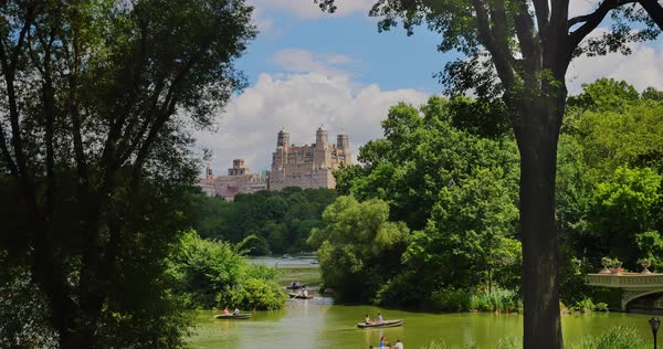 NEW YORK - Circa July, 2016 - People in rowboat on a lake in Central Park with upscale apartment buildings on Central Park West in the distance. Royalty-free stock video