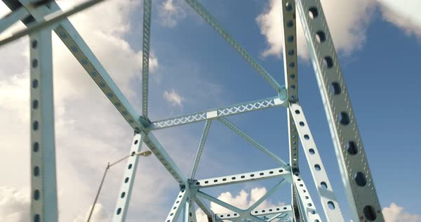Looking up at steel beams on a bridge. Royalty-free stock video