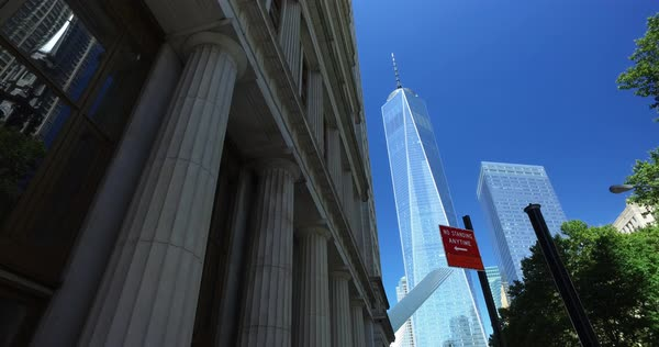 NEW YORK - Circa August, 2016 - A daytime establishing shot of the Freedom Tower in Lower Manhattan.  	 Royalty-free stock video