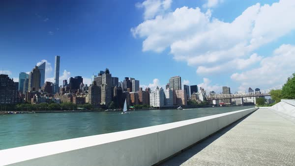 The midtown Manhattan skyline as seen from Franklin D. Roosevelt Four Freedoms Park on the south end of Roosevelt Island.  	 Royalty-free stock video