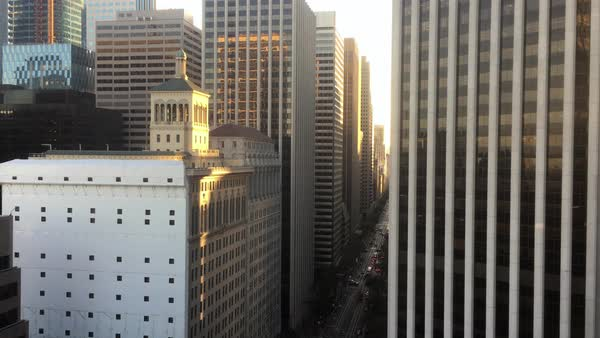 A high angle city establishing shot of Market Street in downtown San Francisco.  	 Royalty-free stock video