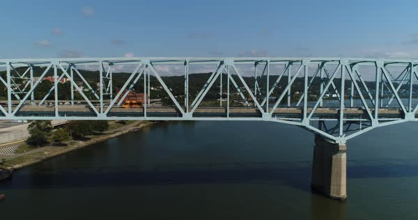 A daytime aerial profile perspective of traffic passing over the Rochester Monaca Bridge spanning the Ohio River in Western Pennsylvania.  Royalty-free stock video