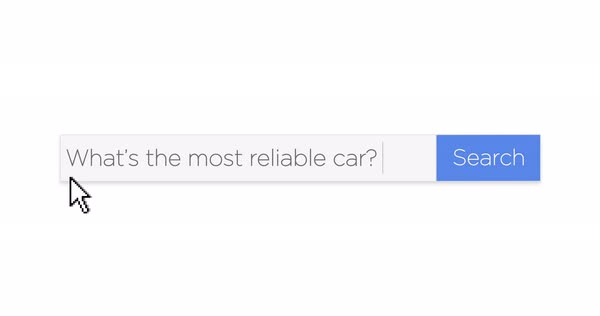 "A graphical Google-style web search box asking the question, ""What's the most reliable car?"" With optional luma matte. Royalty-free stock video"