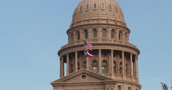 A close-up daytime exterior view of the Texas state capitol dome in downtown Austin, Texas Royalty-free stock video