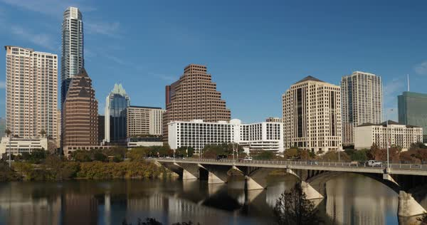 A daytime, sunny exterior static establishing shot of the Austin, Texas skyline on an early winter afternoon.   Royalty-free stock video
