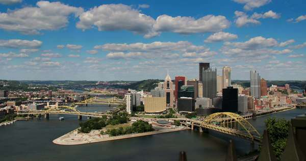 Dramatic timelapse shot of a summer day over Pittsburgh, PA, as seen from Mount Washington Royalty-free stock video