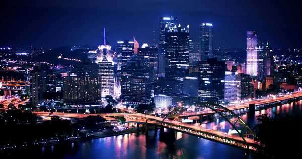 Dramatic nighttime timelapse shot of Pittsburgh, PA as seen from Mount Washington Royalty-free stock video