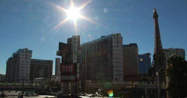 LAS VEGAS, NEVADA - October, 2012: A timelapse shot of a busy Las Vegas intersection at morning. Royalty-free stock video