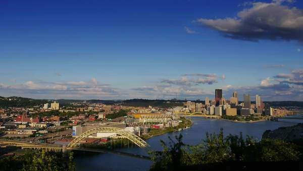 A timelapse shot of the Pittsburgh city skyline as seen from the West End Overlook on a early Fall afternoon. Royalty-free stock video